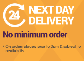 Next Day Delivery on orders placed prior to 3pm & subject to availability - no minimum order
