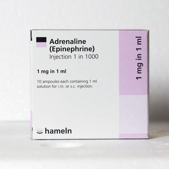 Adrenaline Injection BP 1:1000 - 1ml Amp x 10