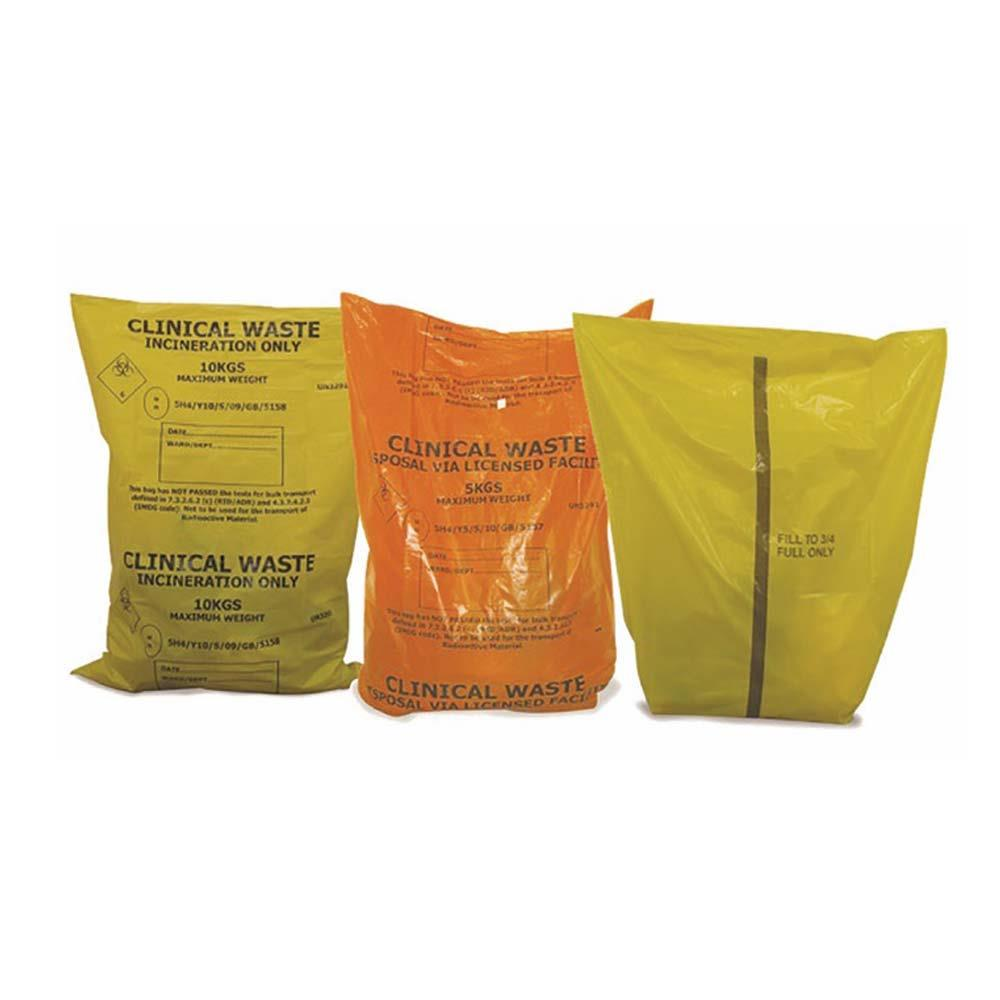 "Clinical Waste Sacks Yellow - 12"" x 18"" x 24"" x 500"
