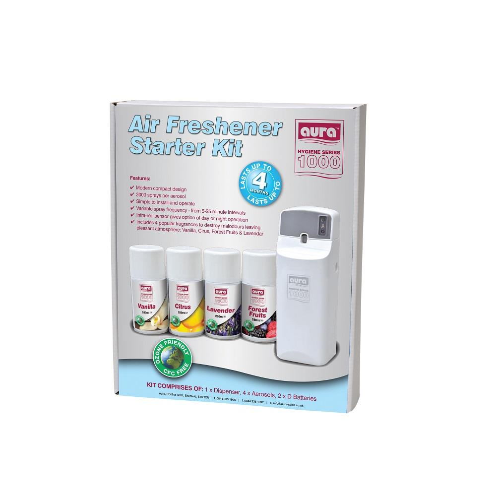 Automatic Air Freshners Starter Kit - 1 unit, 2 batteries and 4 refills