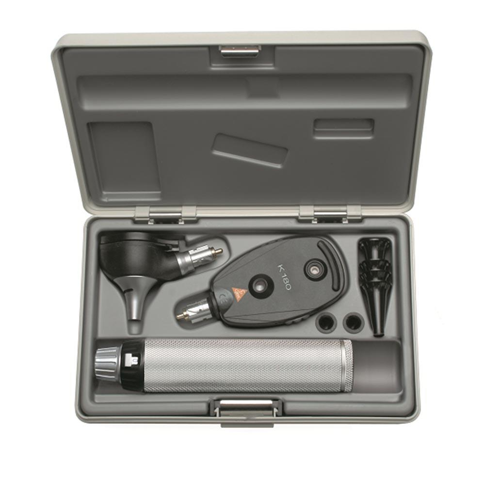 """ Heine Set with K180 Opthalmoscope, K180 F.O,1 set (4pcs) of reuseable tips in hard case"""