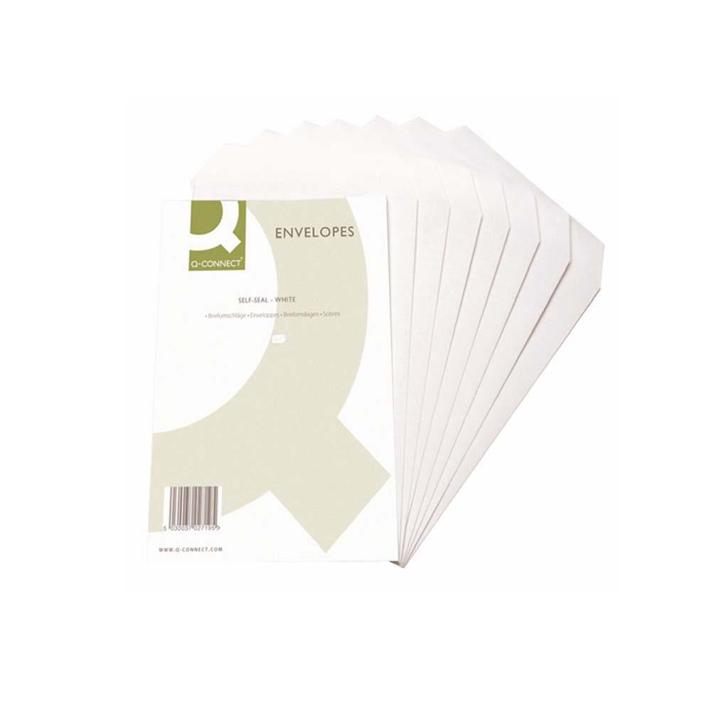 Q-Connect Self Seal Envelopes - 90gsm C6 - 90gsm - White - Pack of 1,000
