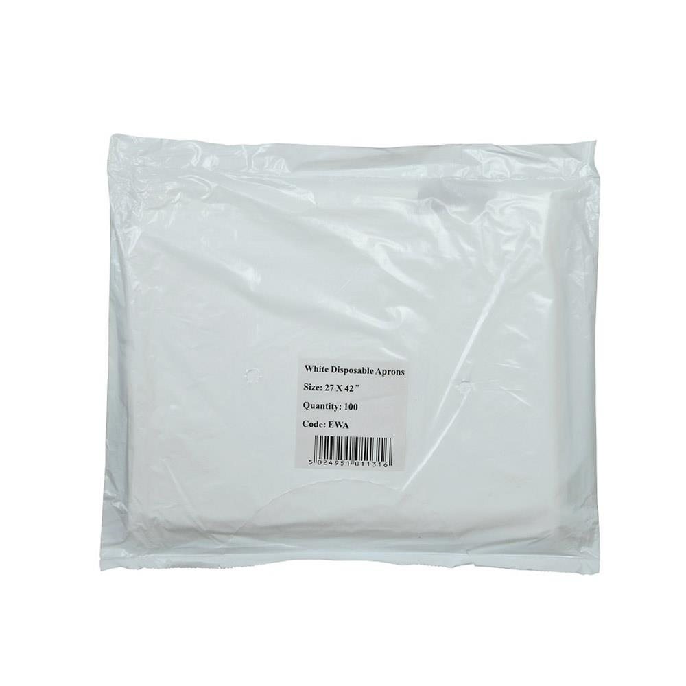 Polythene Disposable Aprons White - On a Roll x 200