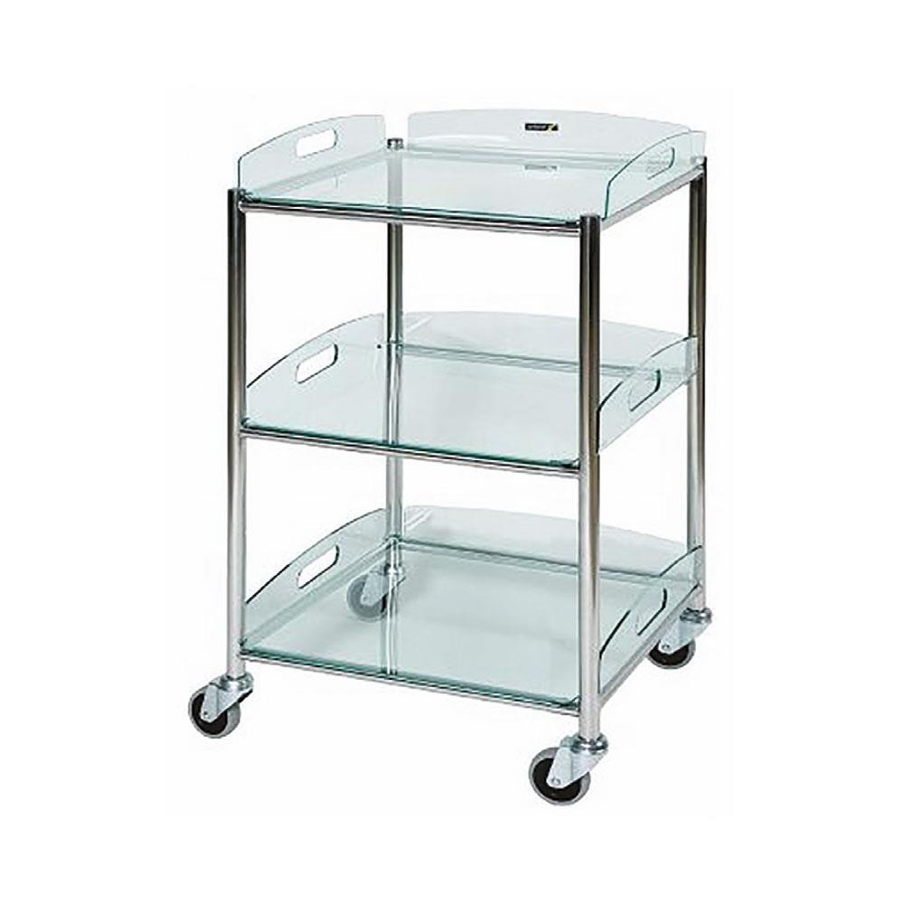 Sunflower Surgical Trolley - Glass Effect Safety Trays 86cm - 3 Glass Effect Safety Trays