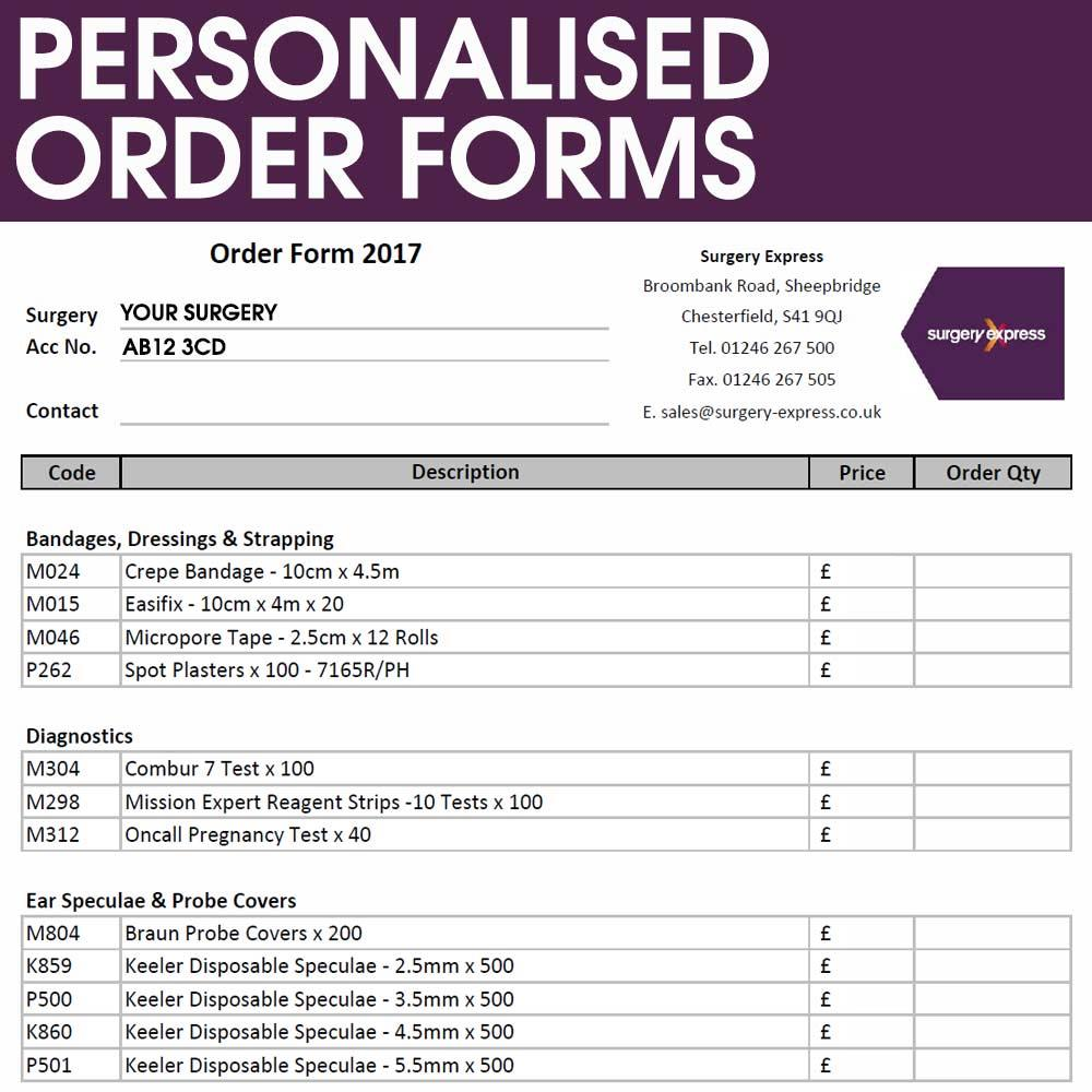 Order Forms Personalised to You