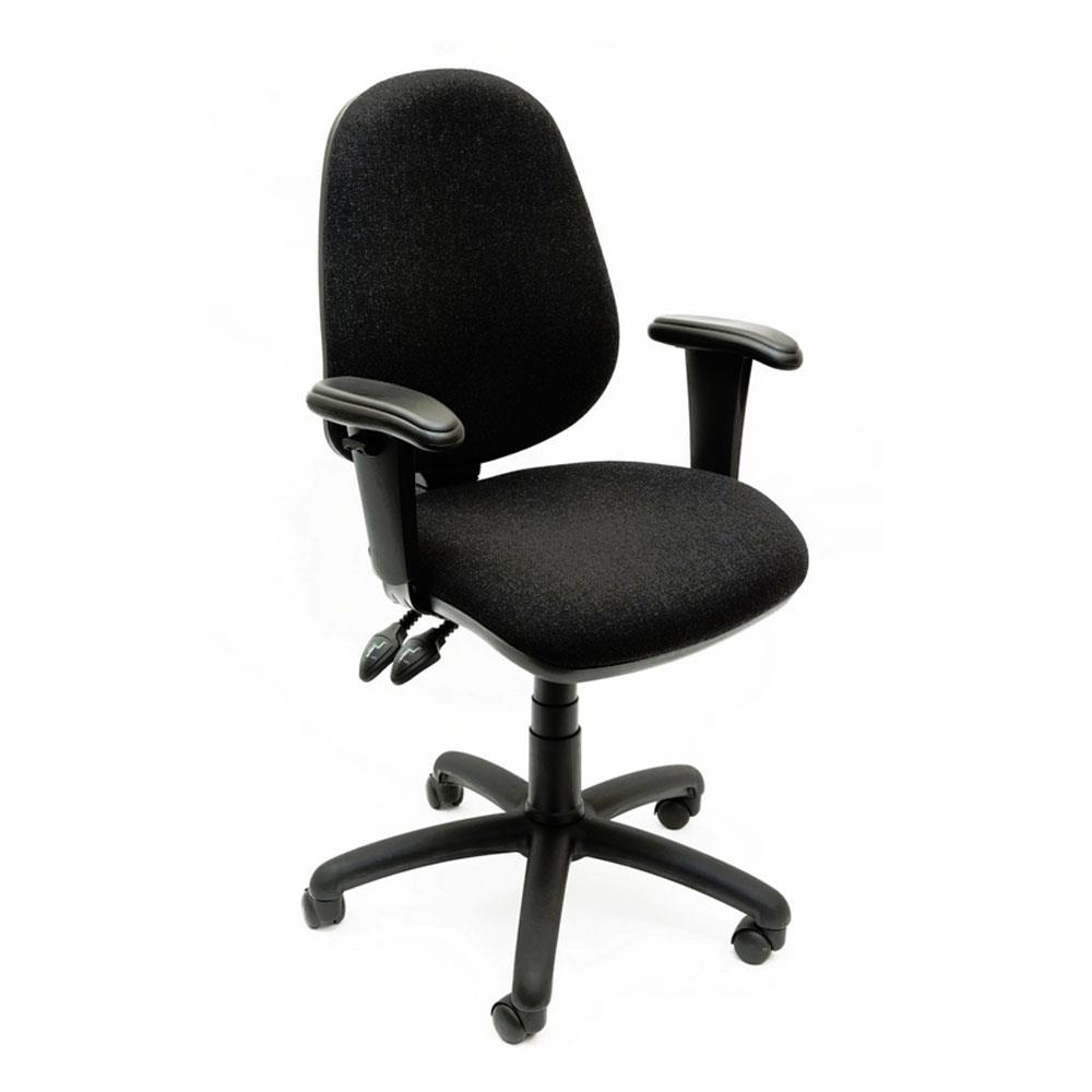 High Back Operator Chair With Adjustable Arms and Glides in Black Vinyl
