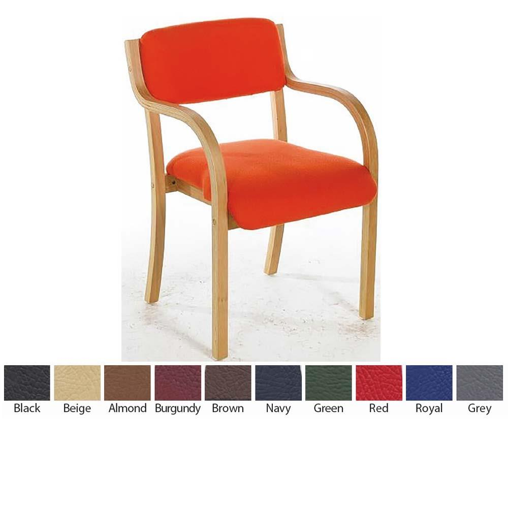 Wooden Frame Visitor Chair with Arms