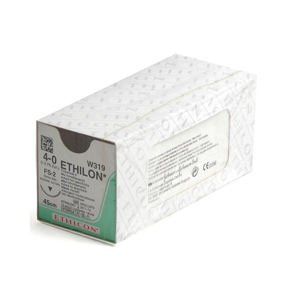 Ethicon- Ethilon Sutures Ethilon Curved Reverse Cutting - 3/0 x 12